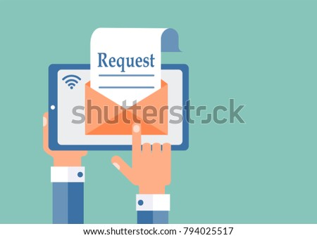Electronic request, message. The concept. Flat design. Сток-фото ©