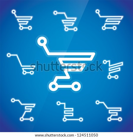 Electronic Shopping Cart Illustration, Sign, Symbol, Button, Badge, Icon, Logo for Family, Baby, Children, Teenager, People