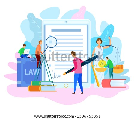 Electronic Signature. Court Decision. Themis Holding Justice Scale. Money and Lamp Idea on Scale. Intellectual Property Rights. Law Books Study. Litigation, Lawyer Services Concept. Vector EPS 10.