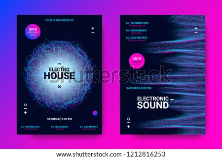 Electronic Sound Flyer. Music Equalizer Vector Design. Amplitude of Distorted Wave Lines. Abstract Poster for Electronic Dance Event. Circle with Glow Effect. Futuristic Electronic Music Movement.