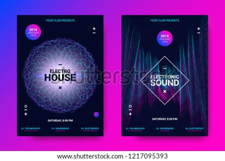 Electronic Sound Flyer. Music Equalizer Vector Design. Amplitude of Distorted Wave Lines. Abstract Poster for Electronic Dance Event. Circle with Glow Effect. Futuristic Electronic Music Movement. #1217095393