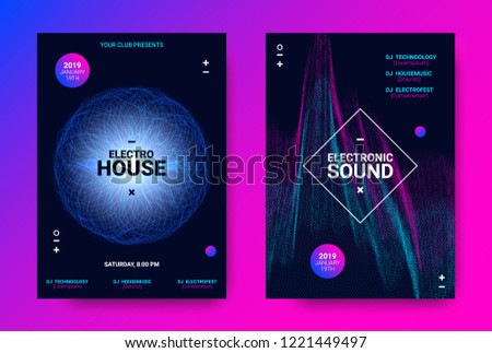 Electronic Sound Flyer. Music Equalizer Vector Design. Amplitude of Distorted Wave Lines. Abstract Poster for Electronic Dance Event. Circle with Glow Effect. Futuristic Electronic Music Movement. #1221449497