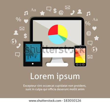 Electronic technology devices emblem of monitor screen mobile smartphone and tablet computer with social media icons vector illustration #183050126