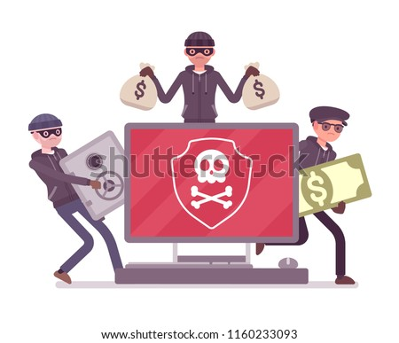Electronic theft danger. Masked men in black stealing money using technology, thieves committing network crime with computer system. Vector flat style cartoon illustration isolated on white background Сток-фото ©