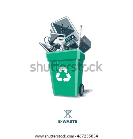 Electronic waste in green recycling bin with discarded electrical and electronic devices computer monitor, cell phone, radio, television, car battery, iron and mouse. Isolated e-waste in garbage can.