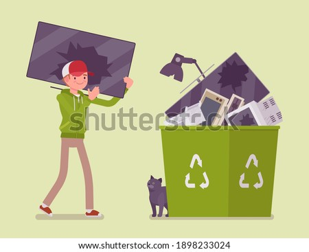 Electronic waste recycling, reuse and reprocessing of electrical equipment. Young man carrying broken monitor to through into a bin with recycle green symbol. Vector flat style cartoon illustration Foto stock ©