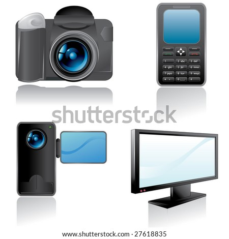 Electronic web icons camera mobile phone camcorder and for Camera it web tv
