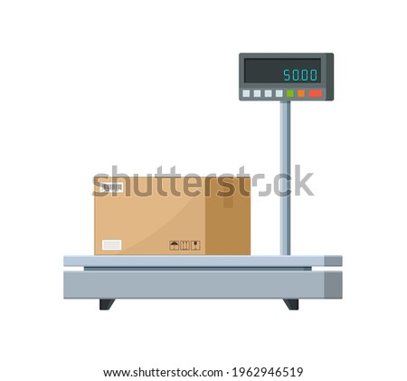 Electronic weight scale for cargo. Industrial scale for parcel box. Balance machine for weigh of box. Weight platform equipment for package with goods, shipping, warehouse. Service of measure. Vector. Foto d'archivio ©