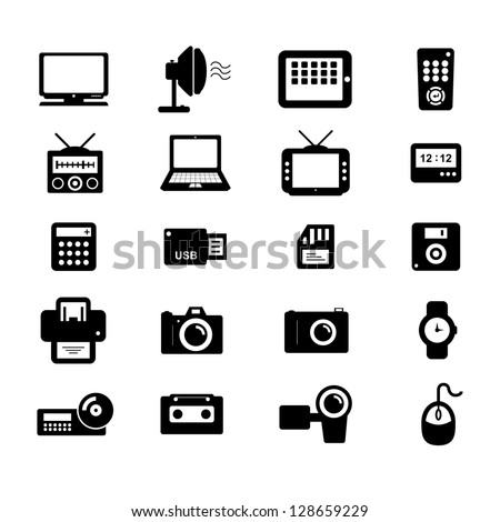 Electronics and Accessories Icon set Black and White