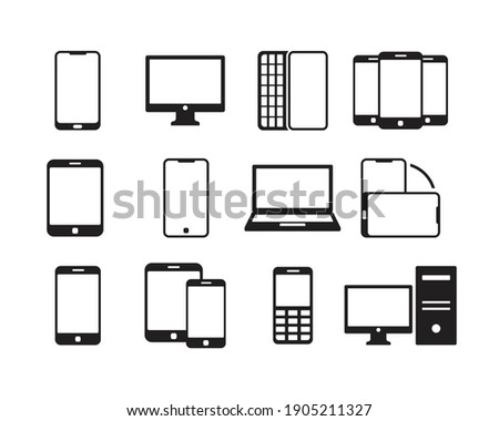 Electronics and devices related icon set. Mobile phones, laptop, tablet, monitor linear icons. Hardware vector sign collection.