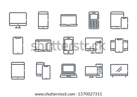 Electronics and devices related line icon set. Computers and mobile phones linear icons. Laptop, hardware and tablet outline vector sign collection.