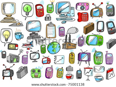 Electronics Business Color Doodle sketch Vector Illustration design elements set