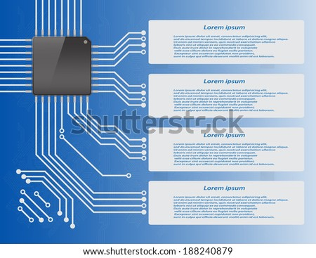 Electronics circuit board purple background with micro chip Info graphics , Vector illustration