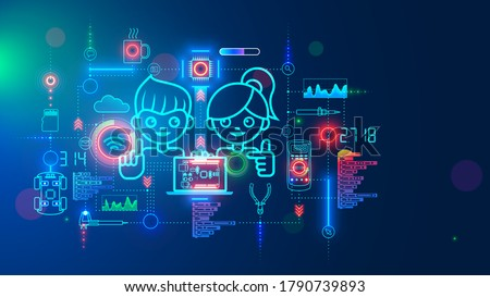 Electronics engineering and hardware programming learning for teens. Boy and Girl coding on laptop in online school for child education of creating electronic robots. Happy kids on science lesson.