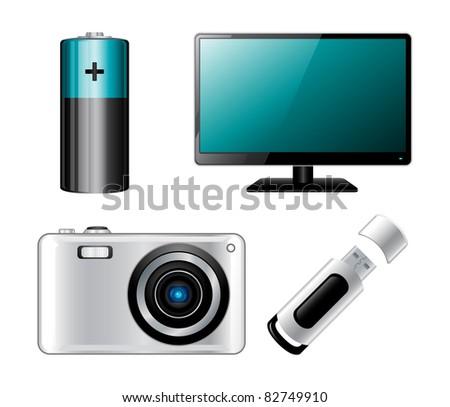 Electronics icon set. High quality