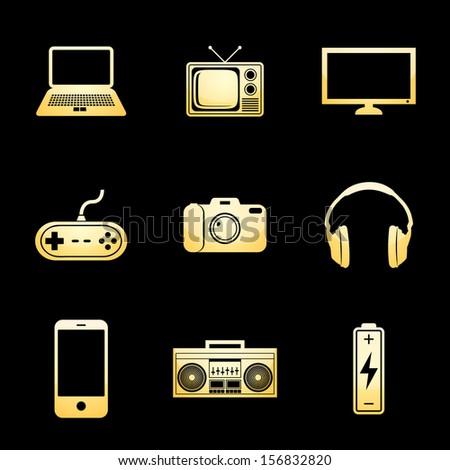 electronics icons gold icon set