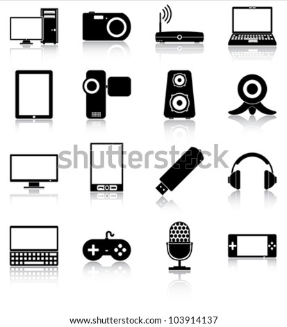 Electronics icons - 16 icons of electronic devices with reflections.