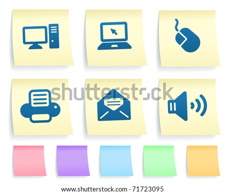 Electronics Icons on Post It Note Paper Collection Original Illustration
