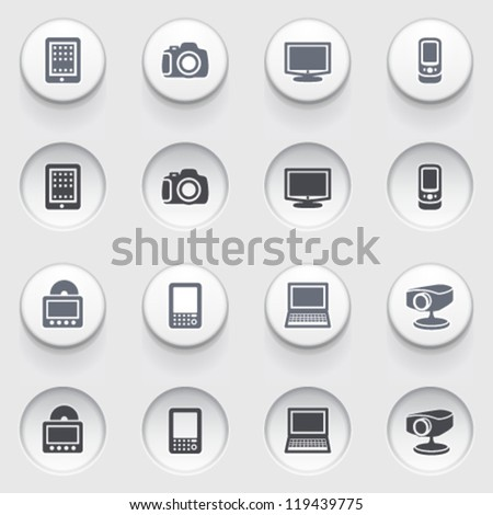 Electronics icons on white buttons. Set 1.
