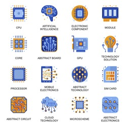 Electronics icons set in flat style. Artificial intelligence, CPU core, GPU module, computer processor, technology solution, micro scheme signs. Electronic components pictograms for UX UI design.