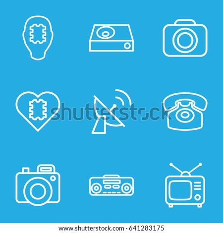 Electronics icons set. set of 9 electronics outline icons such as tv, dvd player, record player, desk phone, camera, satellite, cpu in head