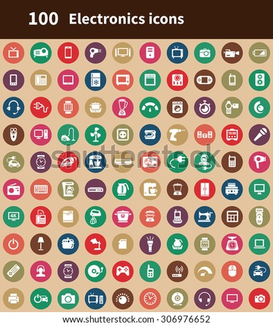 electronics 100 icons universal