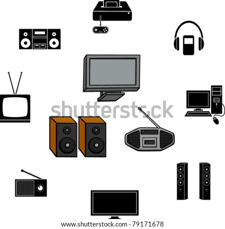 electronics illustrations and symbols set