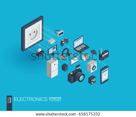 Electronics integrated 3d web icons. Digital network isometric progress concept. Connected graphic design line growth system. Abstract background for technology, household gadgets. Vector Infograph