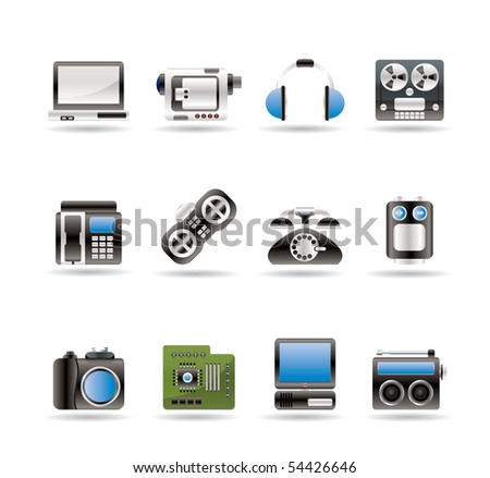 electronics, media and technical equipment icons - vector icon set - stock vector