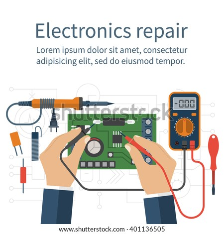 Electronics repair. Tester checking. Multimeter in hands of man. Calibration, diagnostics, maintenance, electronics repair and computer. Vector flat design style. Service center, workshop.