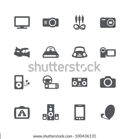 Electronics simple minimalistic icons set
