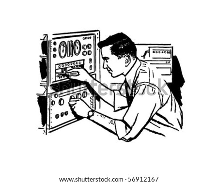 Electronics Technician 2 - Retro Clip Art