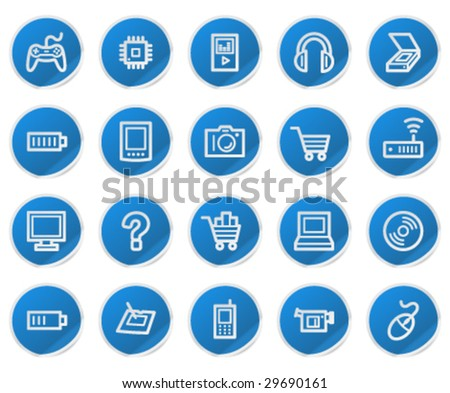 Electronics web icons, blue sticker series