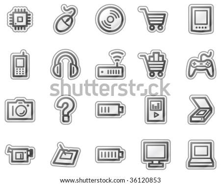 Electronics web icons, grey sticker series
