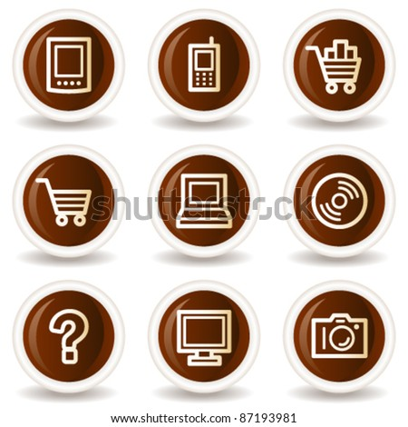 Electronics web icons set 1, chocolate buttons