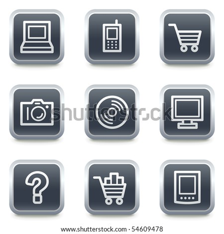 Electronics web icons set 1, grey square buttons