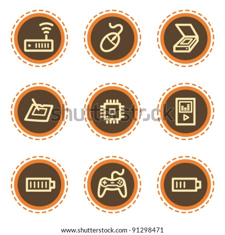 Electronics web icons set 2, vintage buttons - stock vector