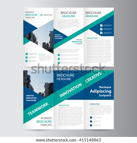 Elegance blue green triangle business trifold business Leaflet Brochure Flyer template vector minimal flat design set