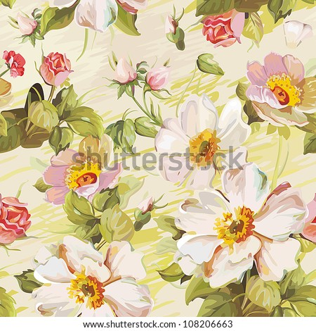 Elegance Colorful texture for decorating background. Seamless pattern with of flowers. Floral vector illustration.