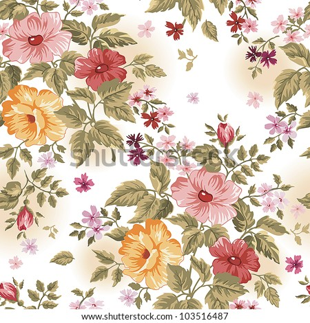 Elegance Colorful texture for decorating background. Seamless pattern with of pink flowers. Floral vector illustration.