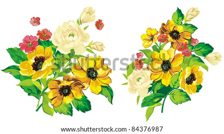 Elegance illustration Bouquet of flowers for your design isolated on white background.