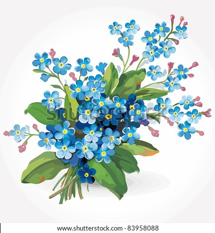 Elegance illustration with forget-me-not flowers bouquet isolated on white background. Color design elements.