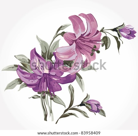 Elegance illustration with lily flowers bouquet isolated on white background. Color design elements.