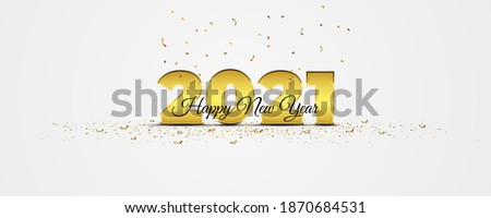 Elegance 2021 New Year banner with golden confetti on white background. Holiday vector illustration. Metallic 2021 gold numerals with crumbs strewn on the floor. Scattered confetti.