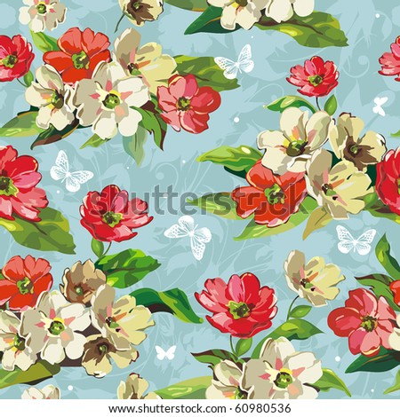 Elegance Seamless beige and red flowers pattern on blue background, vector illustration with butterflies.