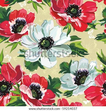 Elegance Seamless color flowers pattern on beige background, vector illustration
