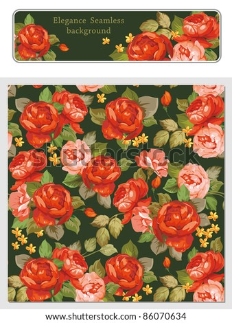 Elegance Seamless color peony pattern and web banner on black background, vector illustration