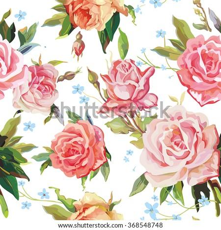 Elegance Seamless color rose pattern on white background, vector illustration