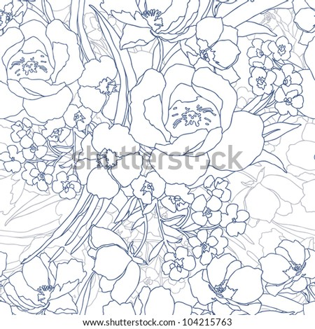 Elegance Seamless pattern flowers, vector ornament illustration in vintage style