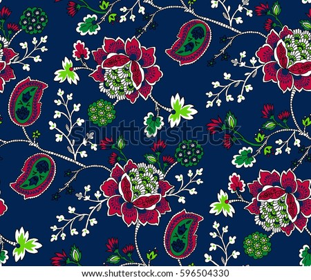 Elegance seamless pattern with ethnic flowers. Vector Floral Illustration in asian textile